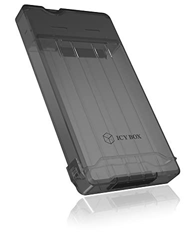 ICY BOX IB-235-U3 Externes Gehäuse für 1x 2,5 Zoll SATA HDD/SSD, USB 3.0 Type-A (5 Gbit/s), werkzeugloser Einbau, integriertes Kabel, grau