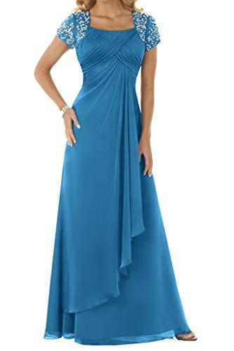 HUINI Damen Kurz Aermel Mit Steine Chiffon Lang Festkleid Ballkleid Abendkleid Blue Size 40