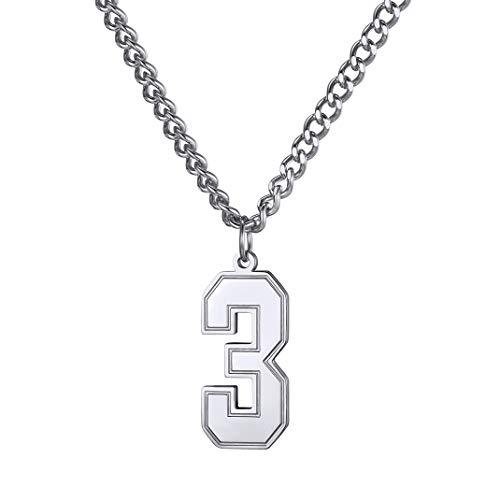 GoldChic Número de Suerte Collar Personalizable Colgante de Número 0 de Acero Inoxidable
