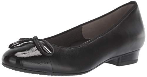 ARA Women's Betty Shoe, Black Leather/Patent Toe, 4.5 Narrow/Wide Shaft UK (7 US)