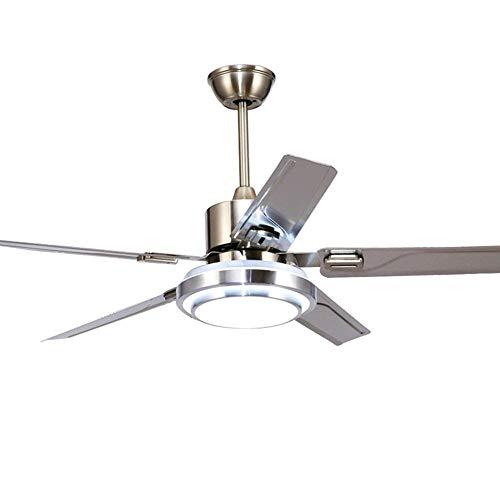 GaLon Plafondventilator met 5 messen van roestvrij staal, 3 verduisterende lichten, draaibare plafondventilator, draaibaar, stille verlichting, energiebesparend