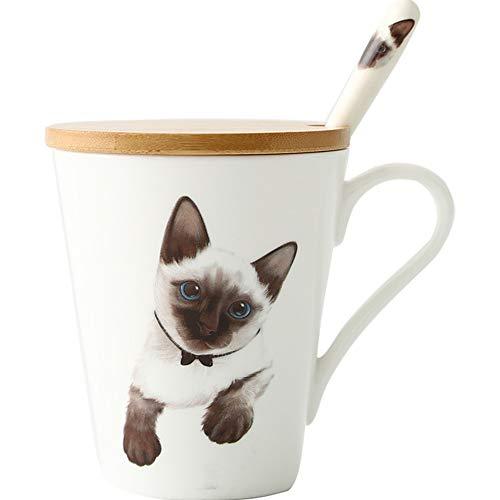 LOYWT Kreativität, Einfachheit, Keramik Tasse, Becher, Haustier, Siam Katze, große Kapazität Büro, schöne Milch Kaffeetasse.