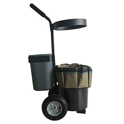 ForceCar Lawn Garden Yard Cart Mobile Transport Tool Storage Gardening Flower Bucket Caddy on Wheels with Oxford Bag