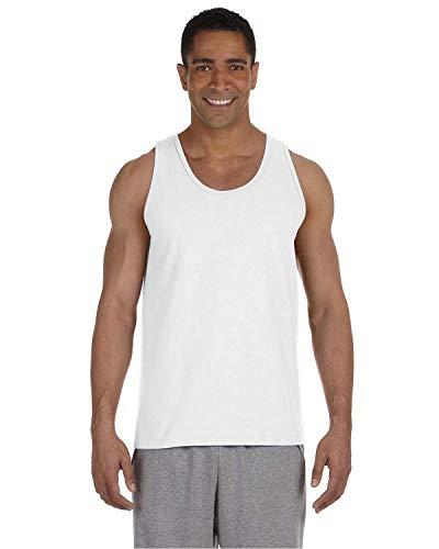 Gildan mens Ultra Cotton 6 oz. Tank(G220)-WHITE-M