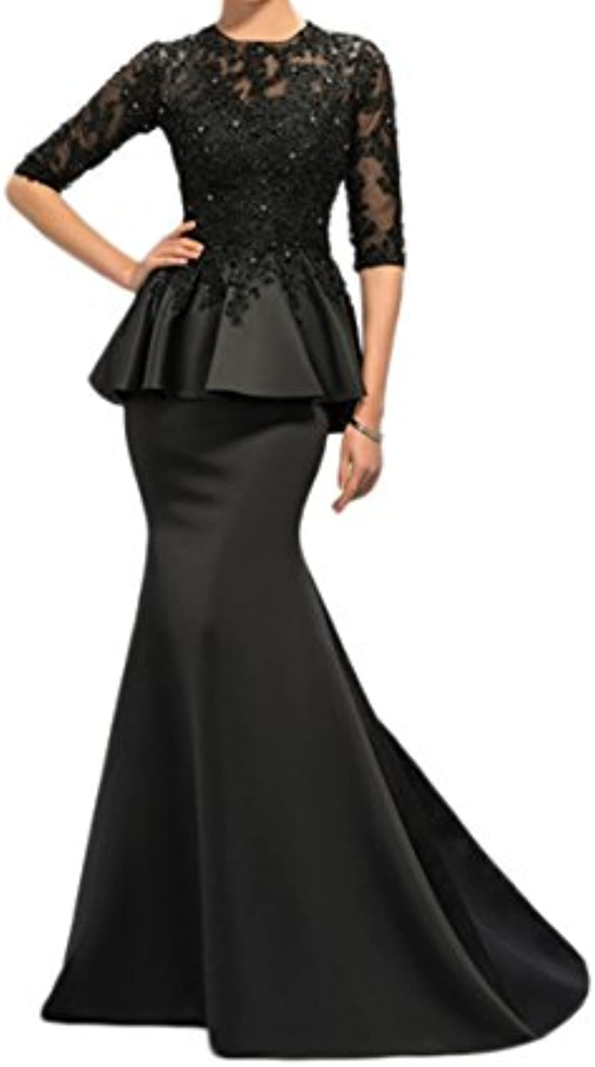 Kaitaijidian Women's Black Mermaid Lace Appliques Beaded Half Sleeves Beaded Long Evening Dress Prom Gowns