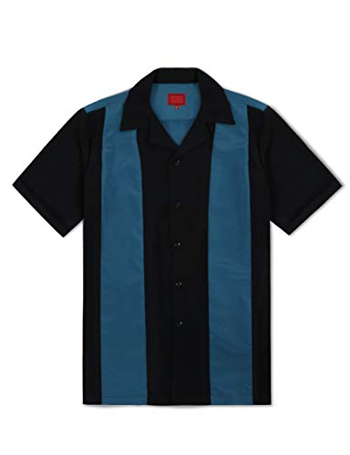 Allsense Men's Short Sleeve Retro Button Down Bowling Camp Shirts Two Tone Striped 4XL Black Teal