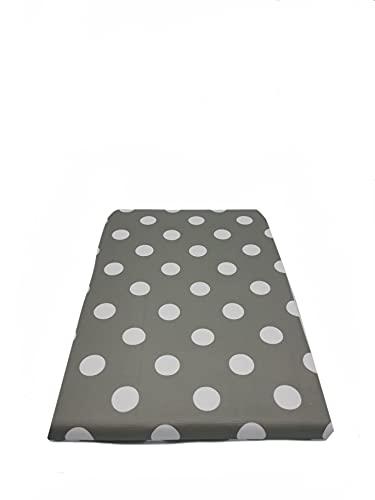 NAUTICALMANIA Tovaglia antimacchia quadrata in PVC plastificata 140 x 140 cm, grigio con pois bianchi, facile da pulire e disinfezione con un panno umido
