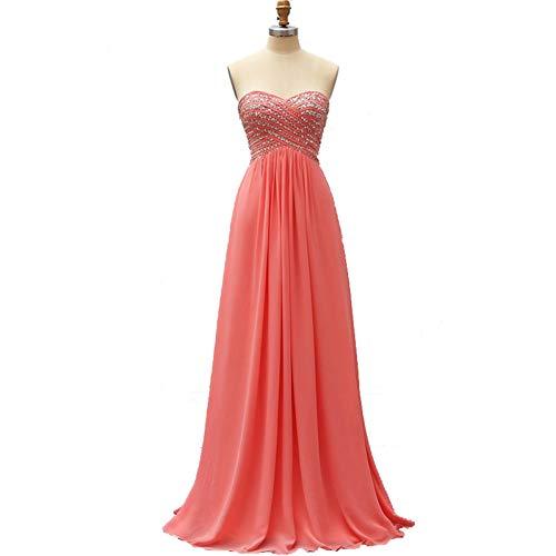 BINGQZ Cocktailkleider/Koralle wulstiges Elegantes Abendkleid-Abendkleid-langes Chiffon- formales Frauen-Partei-Abschlussball-Kleid-Abschluss-Kleid freiem Shipp