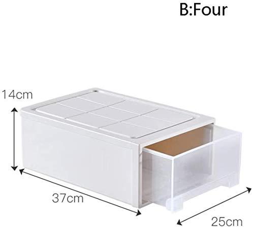 Lszdp-negozio Thuis Desktop Storage Box en lade opbergdoos doorzichtige plastic ladekast gecombineerde Desktop Storage (Color : B, Size : 25cmX37cmX14cm)