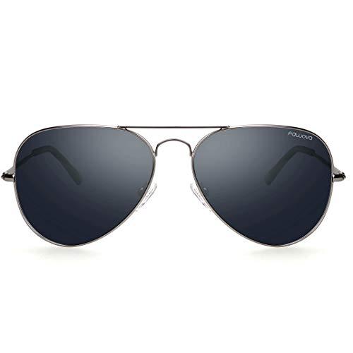 fawova Gafas Hombre Aviador Polarizadas Con Lent Gris,2019 Gafas de Sol Hombre Aviador Montura de Metal,Conducir, Pescar, Golf, Correr UV400,Cat.3 58mm(Gris, Gris)