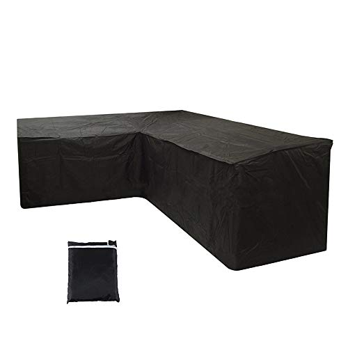 L-Shaped Garden Furniture Cover, Heavy Duty Oxford Fabric Water&Windproof Furniture Covers, Garden Furniture Protect Cover Outdoor Patio Rattan Corner Sofa Cover with Strorage Bag (215x215x87cm)