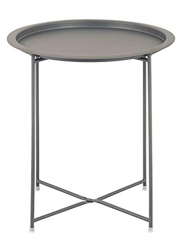 Beistelltisch Gartentisch Balkon Tisch Terassentisch rund Alberta Metall wetterfest zusammenklappbar Farbe dunkelgrau - basaltgrau