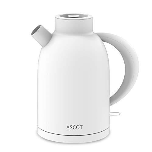 ASCOT Wasserkocher Elektrischer Wasserkessel Retro Teekocher Kettle BPA frei Lebensmittelqualität Material Schnelles Doppelheizung Trockenlaufschutz Auto Herunterfahren 1.6L 2200W - Weiß