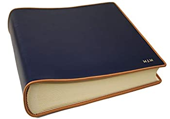 LEATHERKIND Personalised Cortona Leather Photo Album Navy Medium Classic Style Pages - Handmade in Italy