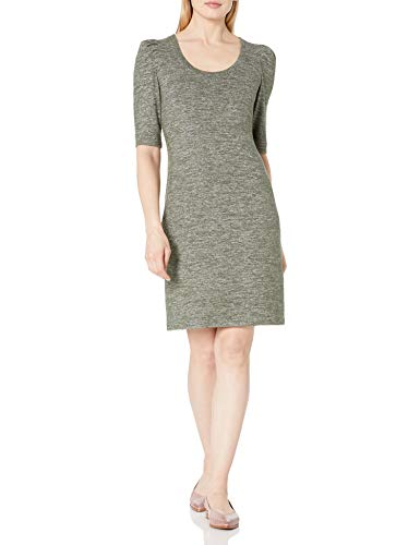 Daily Ritual Cozy Knit Puff-Shoulder Dress Vestido, Oliva Marl, M