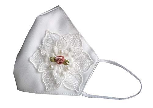 Accesorio comunión niña blanca con flor rosa encaje