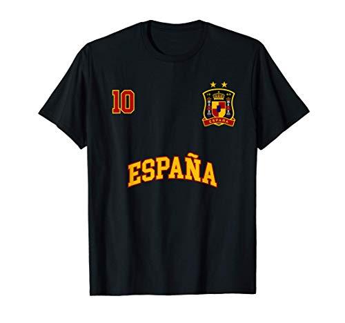 Equipo Deportivo Fútbol España No 10 Bandera Española Camiseta