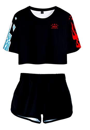 JOAYIN Mädchen T-Shirt und Shorts My Hero Academia Anime Sport Sets 3D-Digitaldruck Sommer Mode Kurze Sportswear(S)