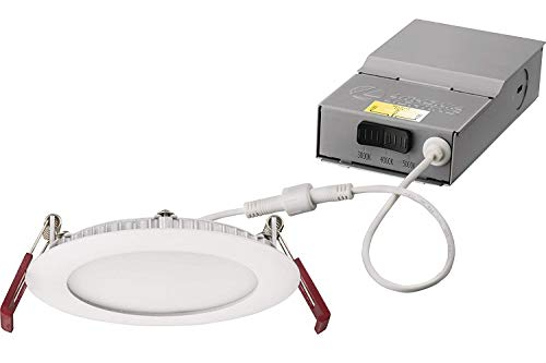 Lithonia Lighting WF4 30K40K50K 90CRI MW M6 LED Color Temperature Selectable Ultra Thin Recessed Downlight, 3000K 4000K 5000K, White