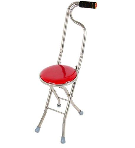 Bastón con asiento plegable,Plegable de viaje de caña de caminar bastón de asiento de taburete silla de silla de caminar caña de palo, red