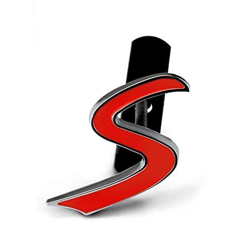 HTSM Auto 3D Buchstaben S Emblem Aufkleber Kühlergrill Abzeichen Für Mini Für Cooper S R50 R53 R55 R56 R60 R61 F54 F55 F56 F60 Countryman Zubehör Dekorationen (Color : Grill Emblem S)