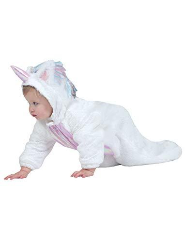 Luxuspiraten - Baby Jungen Mädchen Kostüm Plüsch Einhorn Unicorn Fell Einteiler Onesie Overall Jumpsuit, perfekt für Karneval, Fasching und Fastnacht, 104, Weiß
