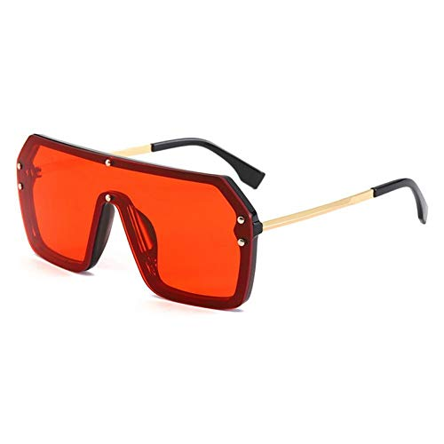 ZZOW Gafas De Sol Cuadradas De Gran Tamaño para Mujer, Lentes De Espejo A La Moda, Gafas De Sol Rojas Y Verdes para Hombres, Gafas Uv400