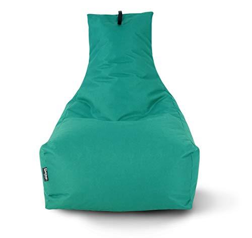 Lounge Sitzsack Liege Beanbag 32 Farben wählbar 90cm(Ø) Rückenlehne Bodenkissen Indoor Outdoor Sitzsäcke Gaming Kinder Bean Bag Erwachsene Riesensitzsack gefüllter Sessel(Türkis)