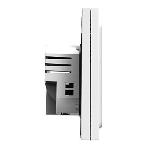 Controlador de luz de Fondo del Controlador WiFi Calentador eléctrico de calefacción del termostato Pantalla LCD Temperatura Ambiente con luz de Fondo de la Pantalla táctil, Blanca