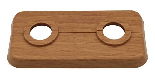 3 STÜCK Doppel-Rosette für Heizungsrohre, Abdeckung, Heizung, Heizkörper, 2-teilig, 12mm bis 18mm, für Laminat und Parkett, PP mit Holz-Dekor: Ahorn, Buche, Eiche (15mm, Buche - Dekor)