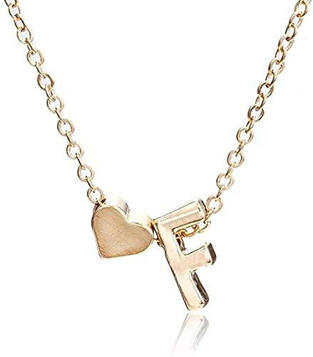 WYDSFWL Collar pequeño Collar de Oro Individual Letra AZ Collar de corazón de Amor de Oro Colgante Mejor Regalo joyería de cumpleaños para niñas Regalos