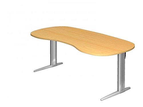 Schreibtisch DR-Büro Serie XS - 200 x 100 cm - 7 Farben - Arbeitshöhe 72 cm - Nierenform - Gestell Silber, Farbe:Buche