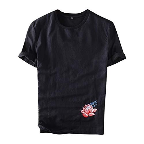 Eaylis Herren T Shirt Hemd KurzäRmliges Lockeres, KurzäRmliges Mode Bestickte Baumwolle Kurzarm Top S/M/L/XL / 6XL