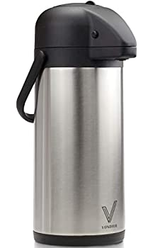 Airpot Coffee Dispenser with Pump - Insulated Stainless Steel Coffee Carafe  85 oz  - Thermal Beverage Dispenser - Thermos Urn for Hot/Cold Water Party Chocolate Drinks