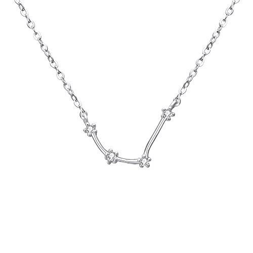 Clearine Collares de Mujer Serie de Constelación'Acuario' Colgante Plata 925 Zirconia Cúbica Horóscopo Exclusivo para Regalo Boda Novia