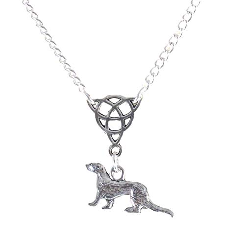 Small Triquetra and Ferret Or Celtic Ferret Necklace FBA 1772