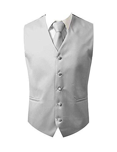 Brand Q Herren Kleid Weste Krawatte Einstecktuch quadratisch Set Silber Größe S (Brust 41)