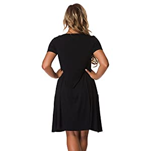 VOIANLIMO Women's Plus Size Casual Loose T Shirt Mini Dress with Pockets (1X Plus, 0-Black)