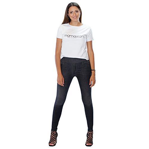 MAMAJEANS Lima - Jeggings Vita Alta, Jeans da Donna Skinny Elasticizzati. Massima comodità, Relax e Stile - Made in Italy (L, Nero)