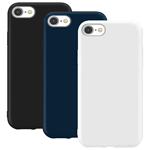 Coque en Silicone pour iPhone 8, Misstars Ultra Mince Souple TPU Gel Mat Bumper Doux Léger Anti Rayure Housse Étui de Protection pour Apple iPhone 7/8 / Se (2020), Noir + Bleu Foncé + Blanc