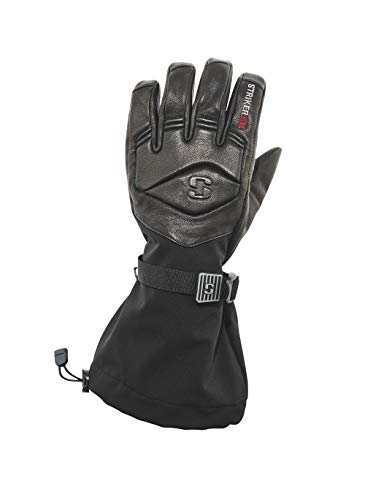 StrikerICE Men's Combat Leather Ice Fishing Gloves, Waterproof Gloves with Thinsulate Insulation, L, Black
