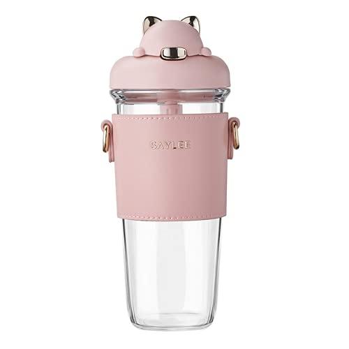TAIJUN Botella de agua personalizada con pajita de 500 ml, sin BPA, triple a prueba de fugas, botella de bebida de pajita para adultos, taza de agua para niño y niña, escuela, viajes