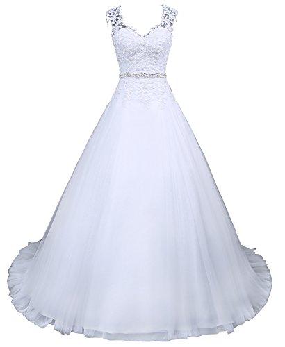 Romantic-Fashion Brautkleid Hochzeitskleid Weiß Modell W048 A-Linie Satin Perlen Pailletten Strass DE Größe 36