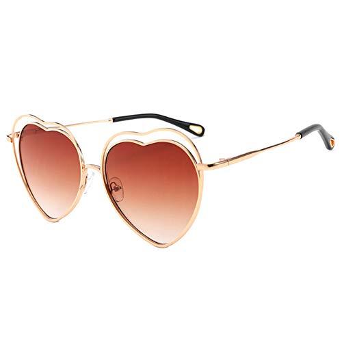 OGOBVCK Amor corazon gafas de sol de color caramelo una pieza de gafas con marco de metal (Tea)