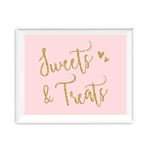 Andaz Press Blush Pink Gold Glitter Print Wedding Collection, Party Signs, Sweets & Treats Dessert Table Sign, 8.5x11-inch, 1-Pack