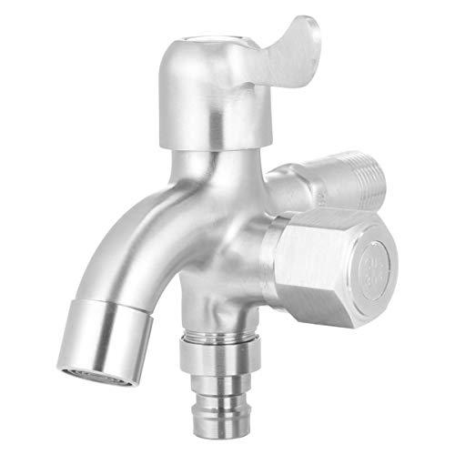 DOITOOL Edelstahl Wasserhahn mit 2 Ausgängen Rost Frostsicher Ersatz Doppel-Wasserhahn für Küche Badewanne Waschmaschine Spülmaschine Garten Haushalt Industrie