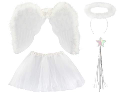 ISO TRADE Kostüm Set Engel Kinder Weiß Outfit Rock Heiligenschein Zauberstab Flügel 3069