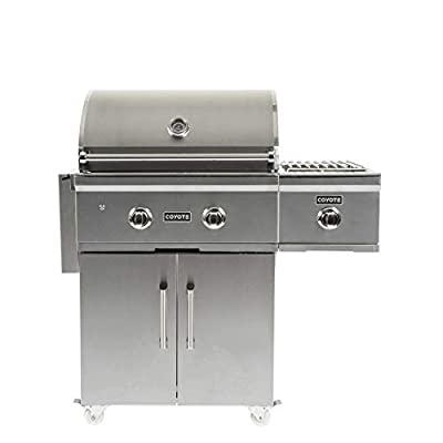 Coyote Outdoor 28 Inch 2 Burner 640 Inch Cooking Area Freestanding Portable Propane Gas Grill, Silver