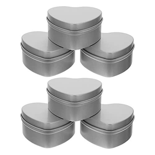 Cabilock 6 Piezas de Latas de Metal Corazón Latas de Vela Vacías Tarros de Hojalata con Tapas para Cosméticos Joyas de Té Favores de Almacenamiento de Alimentos Fabricación de Velas DIY