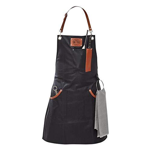 GEFU Grillschürze BBQ, Kochschürze, Küchenschürze, Baumwolle und Leder